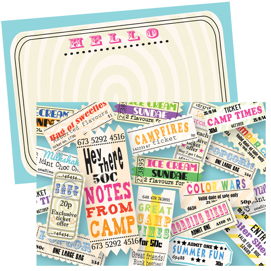 stationery - carnival camp tickets